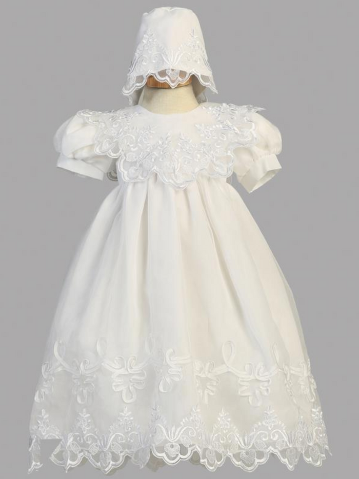Girls White Embroidered Organza Christening Gown