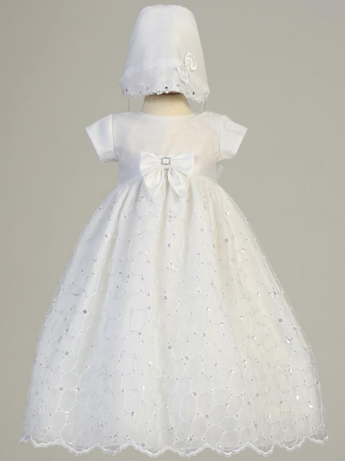 Girls Christening Embroidered Organza White Gown