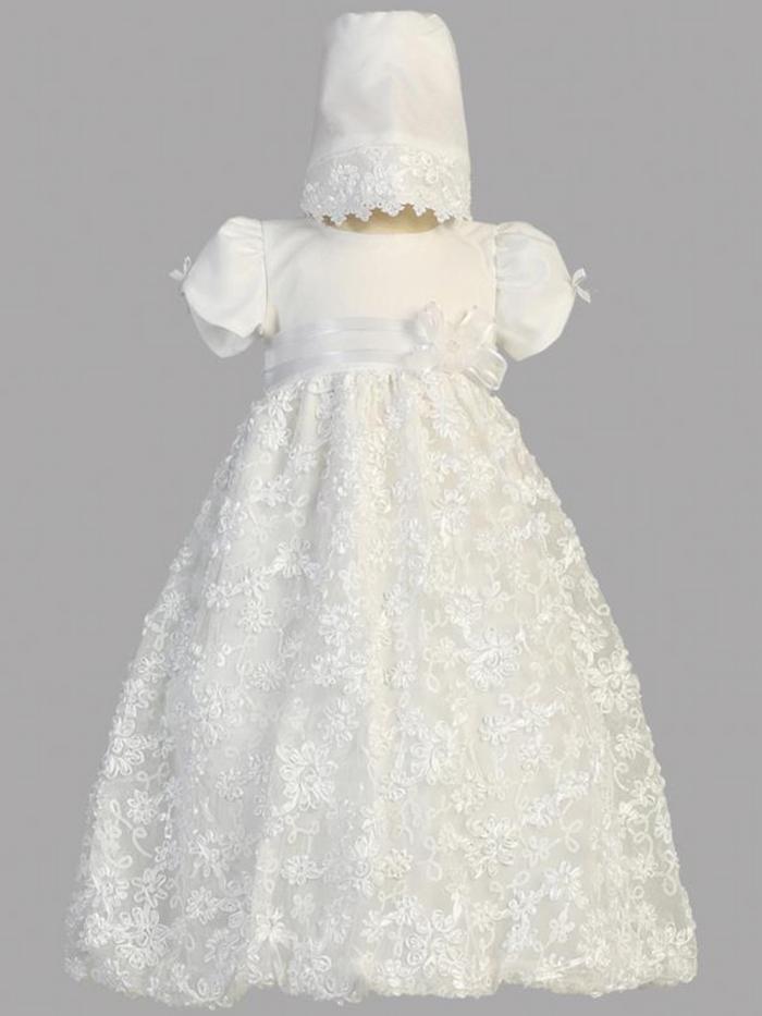 Girls White Satin Ribbon Tulle Christening Gown