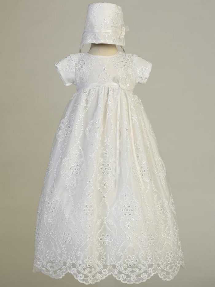Girls White Embroidered Tulle Christening Gown