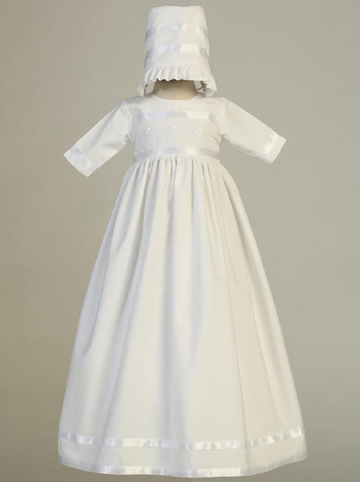 Girls White Cotton Shamrock Christening Gown