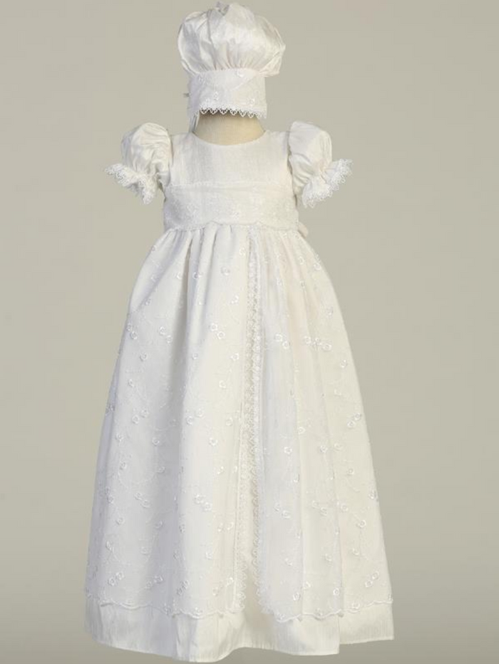 Girls White Silk Christening Gown