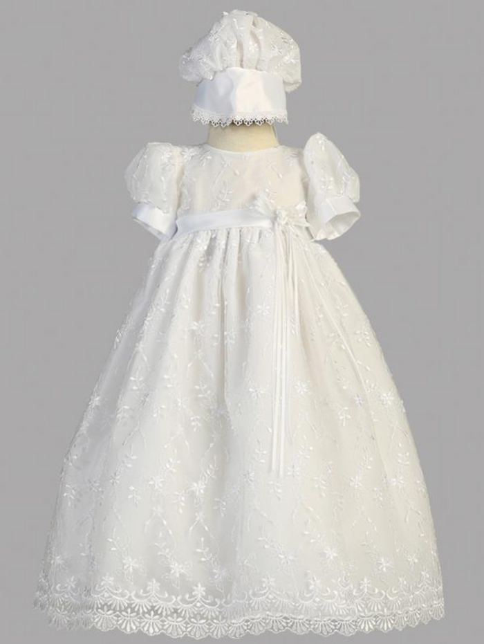 Girls White Embroidered Tulle Christening Gown with Bonnet