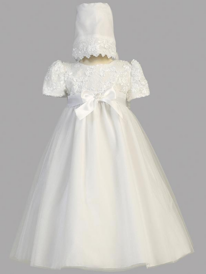 Girls White Embroidered Satin Ribbon Christening Gown