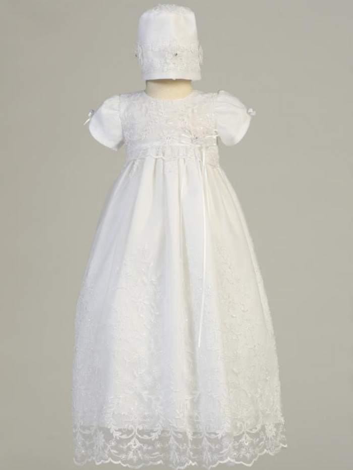 Girls White Embroidered Tulle Beadwork Christening Gown