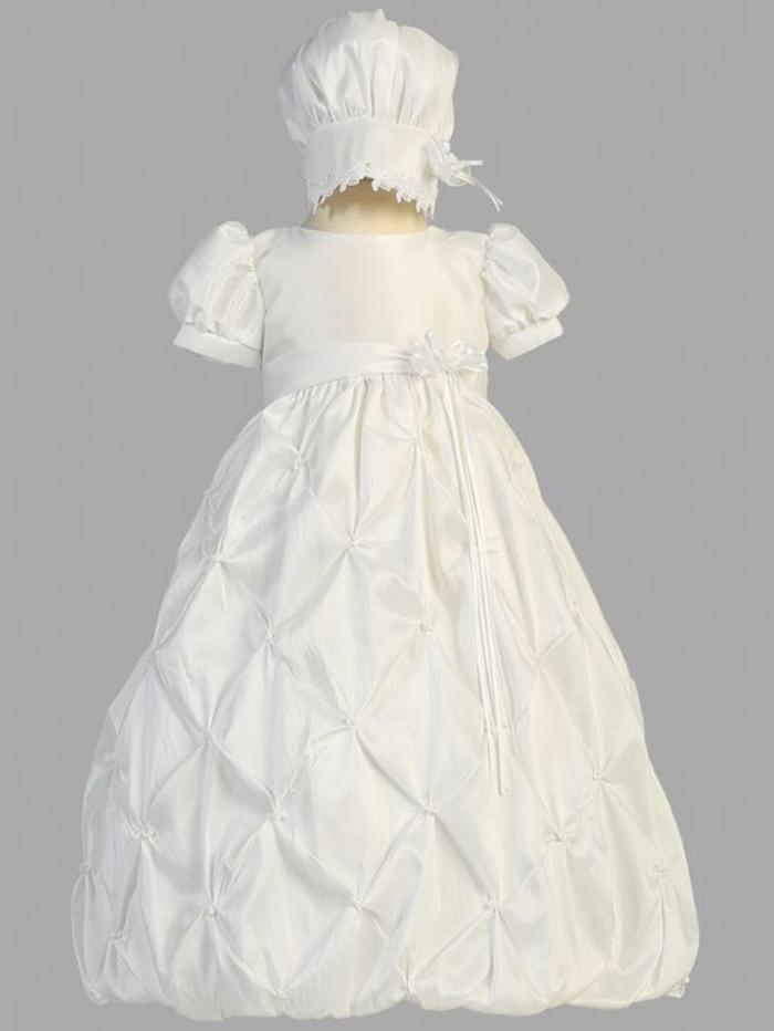 Girls White Gathered Taffeta Christening Gown