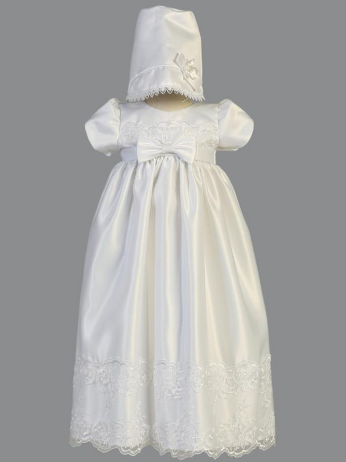 Girls White Satin Embroidered Lace Christening Gown