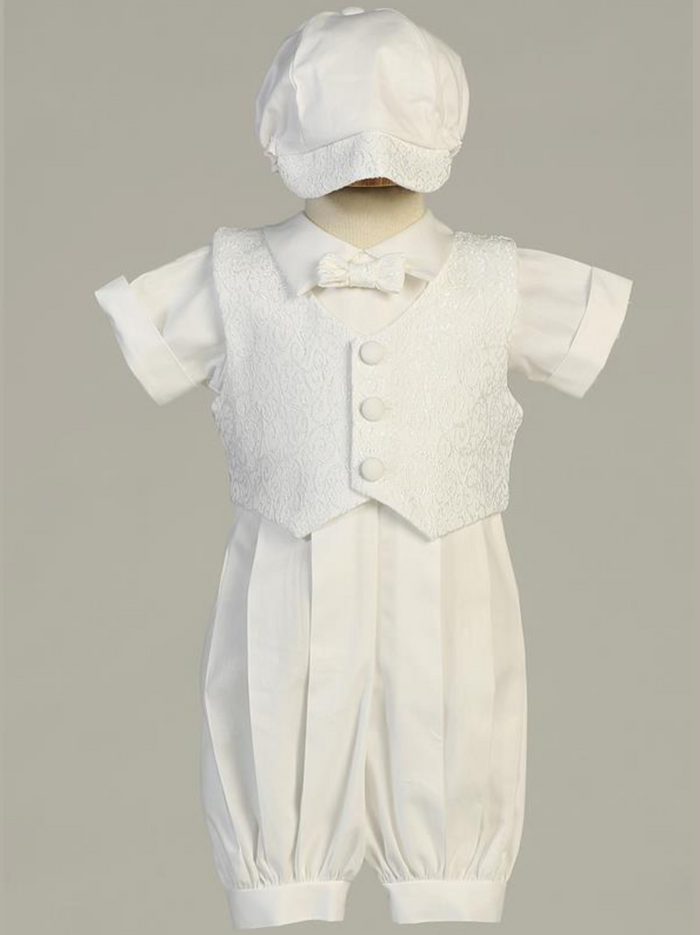 Boys White Poly Cotton Romper Christening Outfit