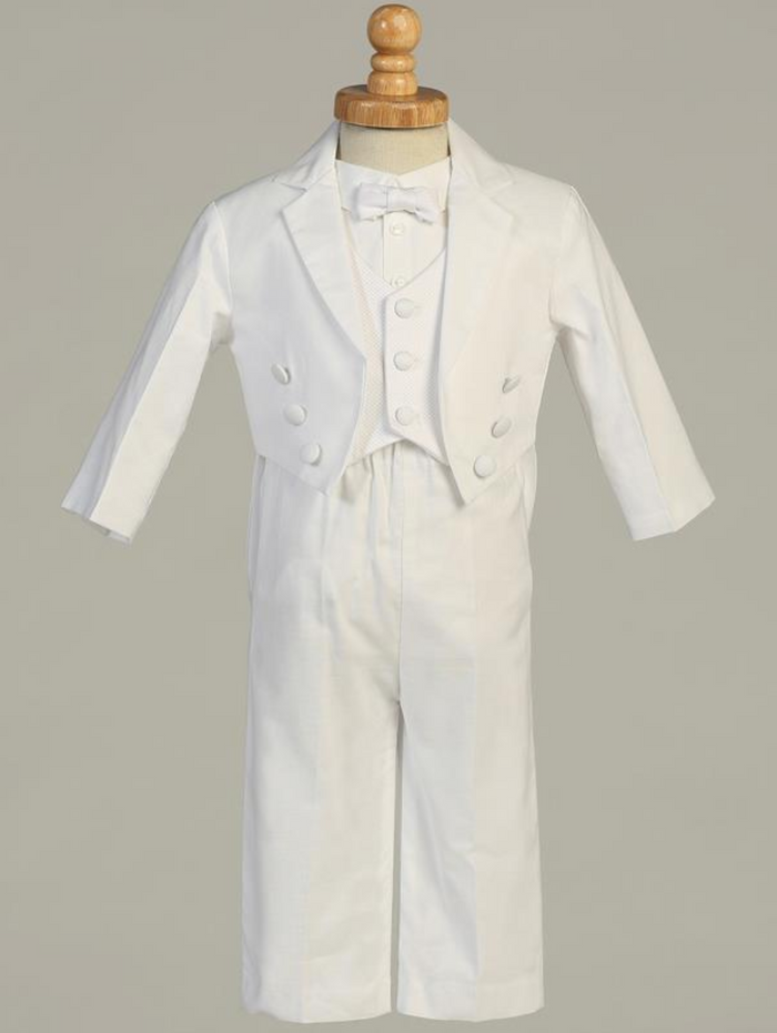 Boys White Cotton Tuxedo Christening Outfit