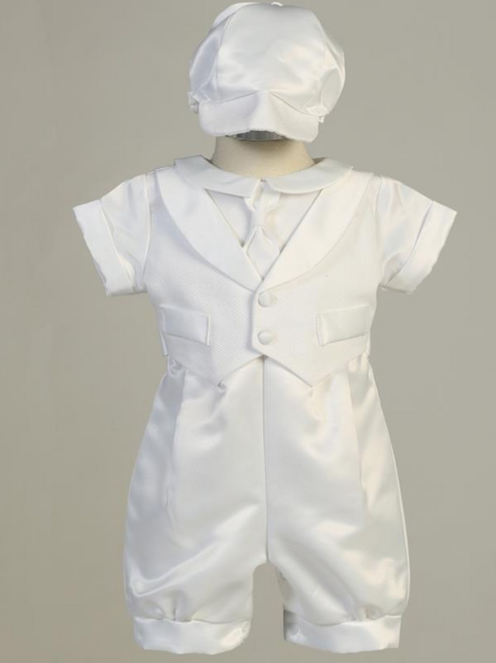 Boys White Satin Romper Christening Outfit with Pique Vest
