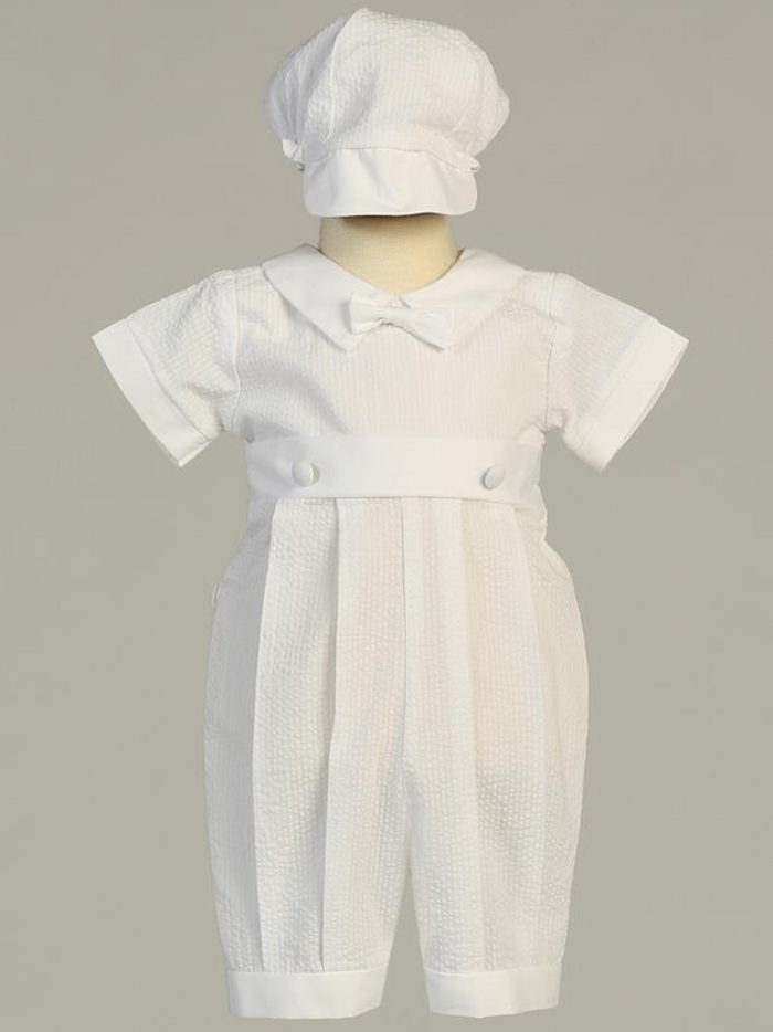 Boys White Cotton Seersucker Romper Christening Outfit