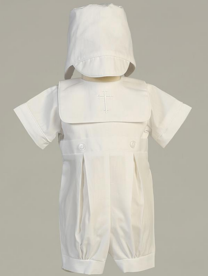 Boys White Poly-Cotton Romper Set Christening Outfit (Zachary)