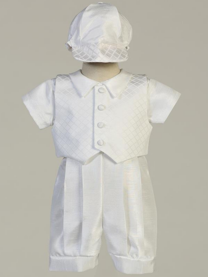 Boys White Jacquard Vest and Shantung Romper Christening Outfit (Lennon)