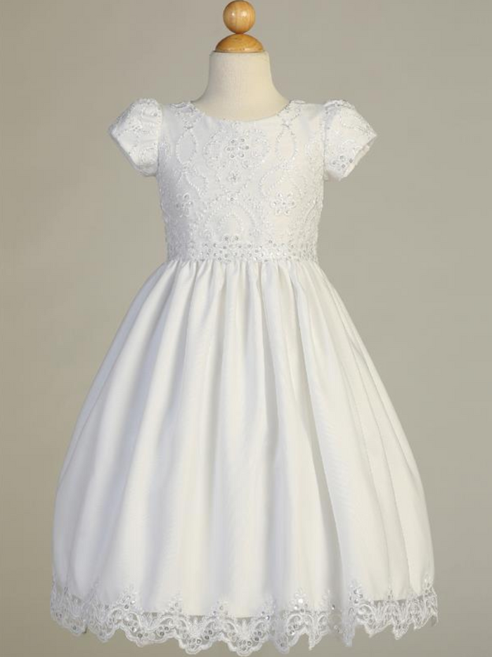 Girls Embriodered Lace on Tulle White Communion Dress (SP167)