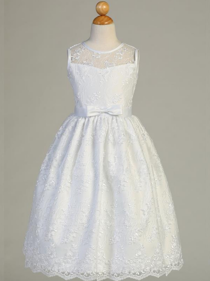 Girls White Embroidered Tulle Communion Dress with Satin Trim (SP157)