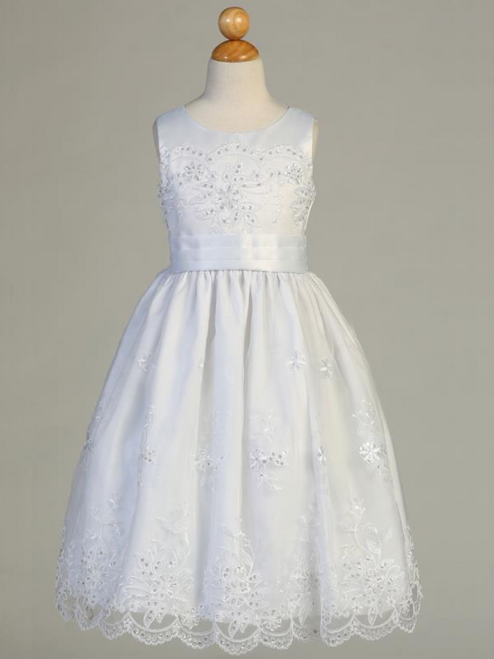 Girls White Embroidered Organza Communion Dress with Satin Trim (SP158)