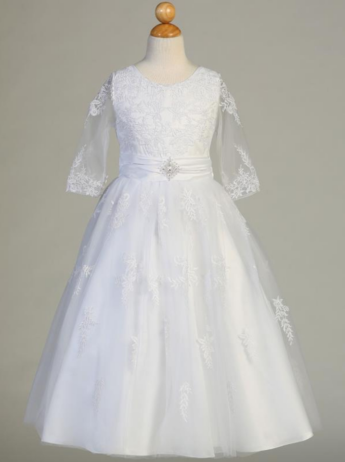 Girls White Embroidered Tulle Tea Length Communion Dress (SP621)