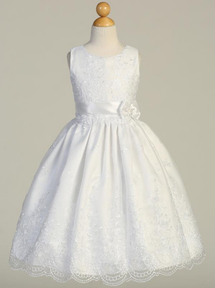 Girls White Embroidered Tulle Communion Dress with Satin Ribbon Bow (SP110)