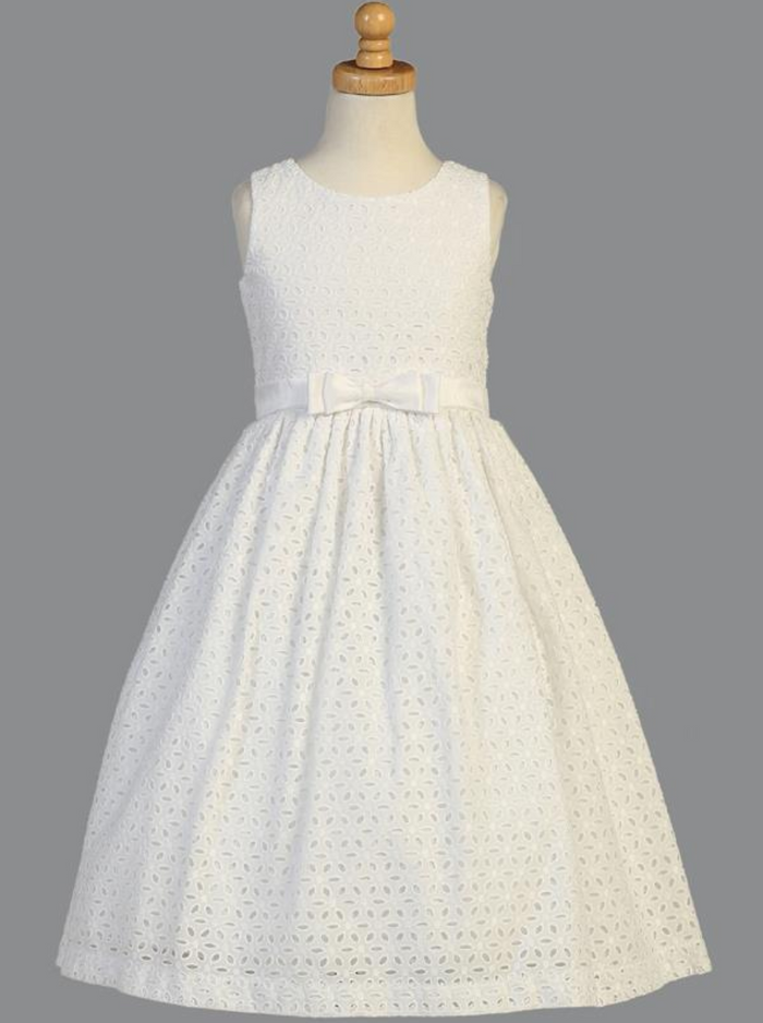 Girls White Embroidered Cotton Communion Dress (SP120)