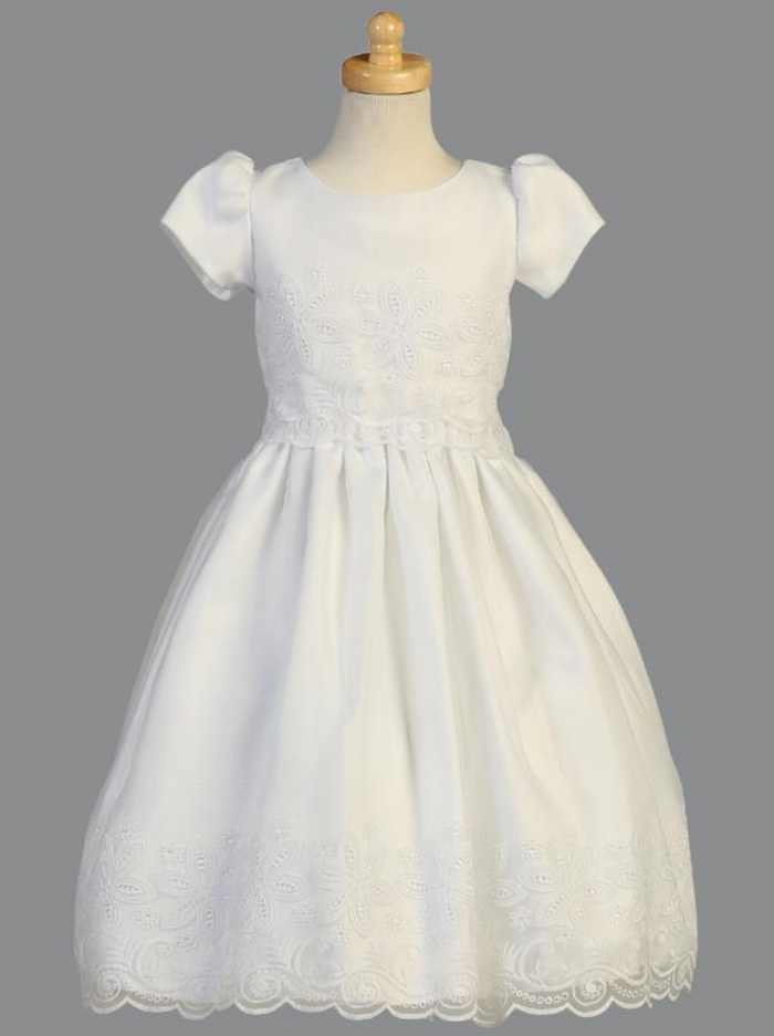 Girls White Embroidered Organza Tea-Length Communion Dress (SP147)