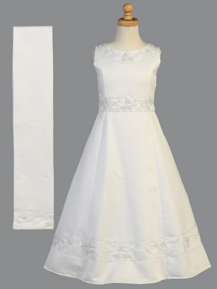 Girls White Beaded Satin Communion Tea LengthDress (SP613)