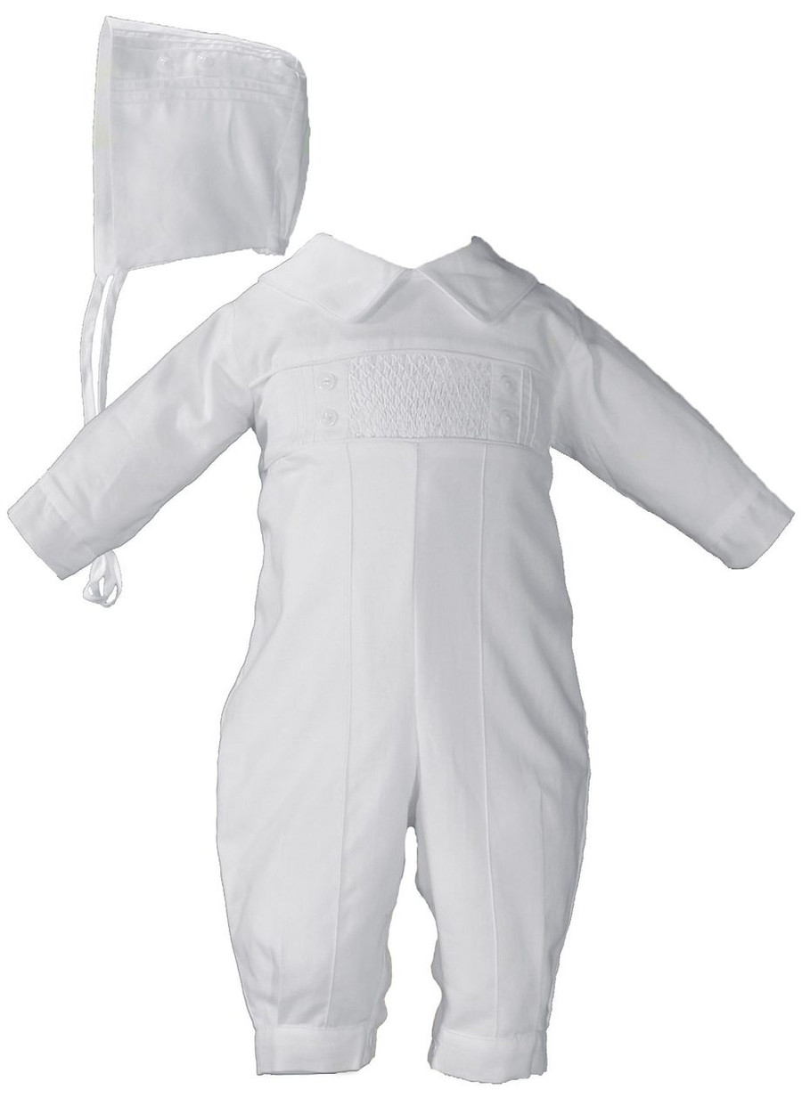 Handsome 100% cotton broadcloth long sleeved coverall with pintucking and smocking.