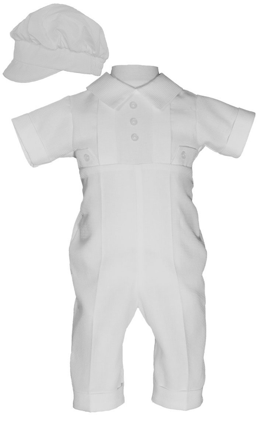 426b36b2a2 Boys Waffle Pique Christening Baptism Cotton Poly Coverall with Hat Only  Option