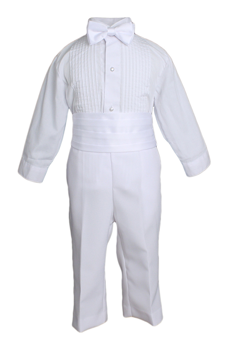 This baby boy's handsome 5 piece Tuxedo set includes