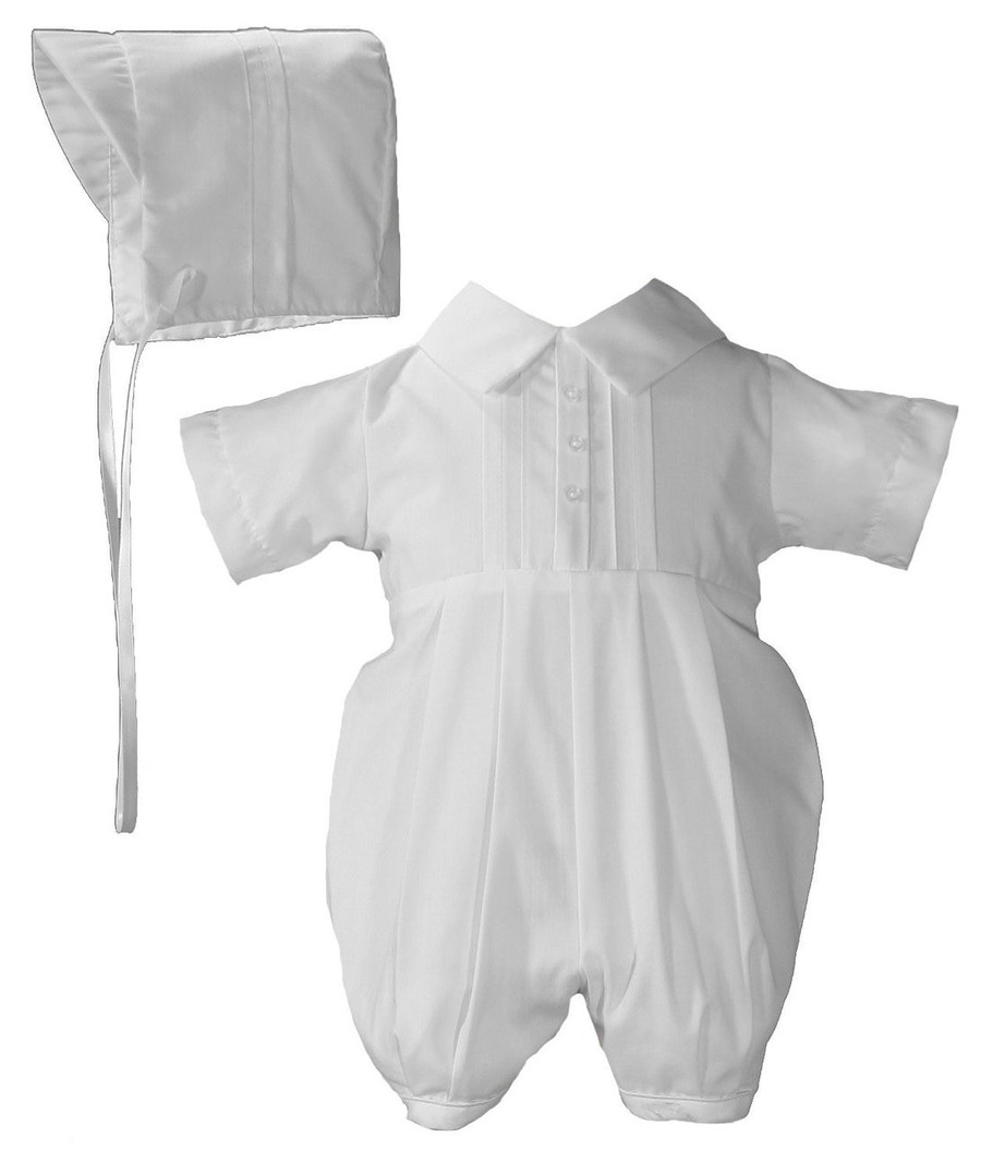 Simple handsome short sleeve poly cotton broadcloth christening romper.