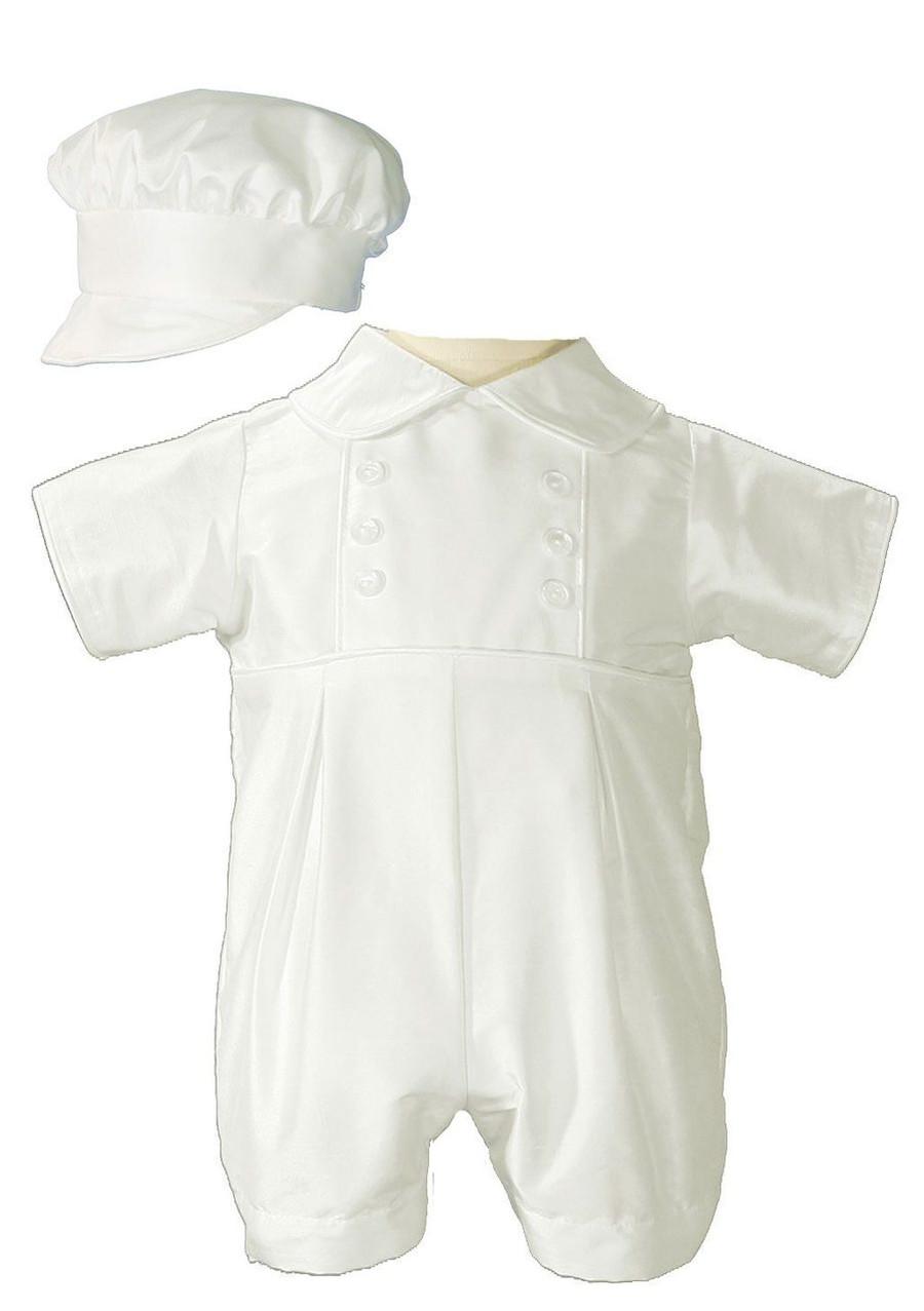 Boyish silk dupioni (slightly off white) christening romper. Includes matching bonnet style hat.