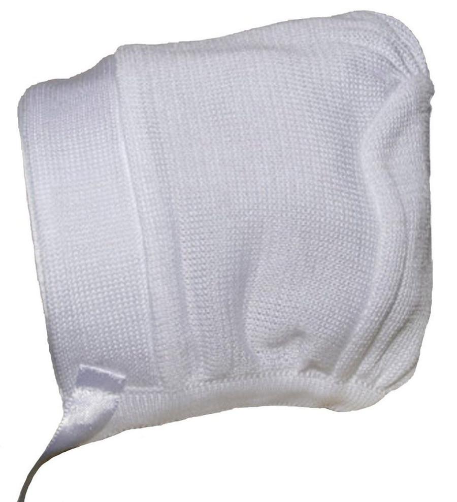 Boys white cotton knit hat or bonnet.