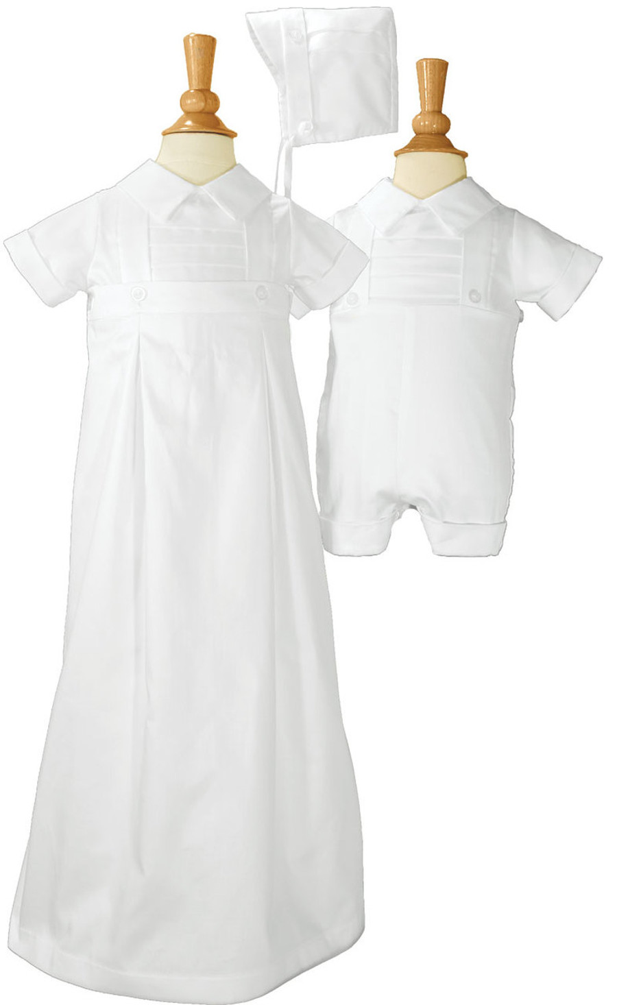 Boys cotton convertible christening baptism set with hat.