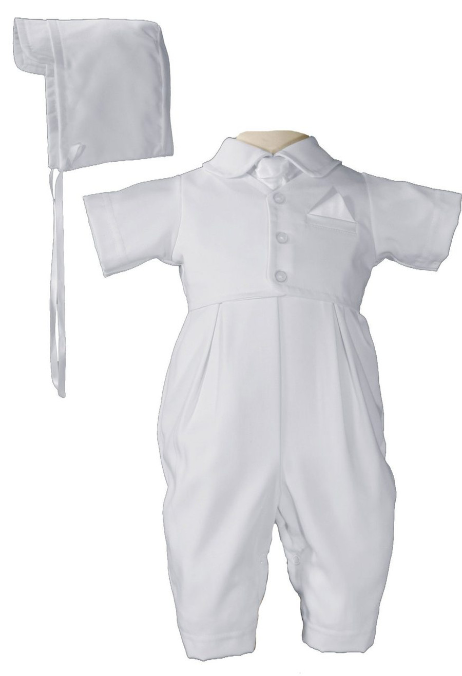 Handsome vested short sleeve coverall of the softest gabardine provides luxurious comfort for your little one. Includes matching hat.