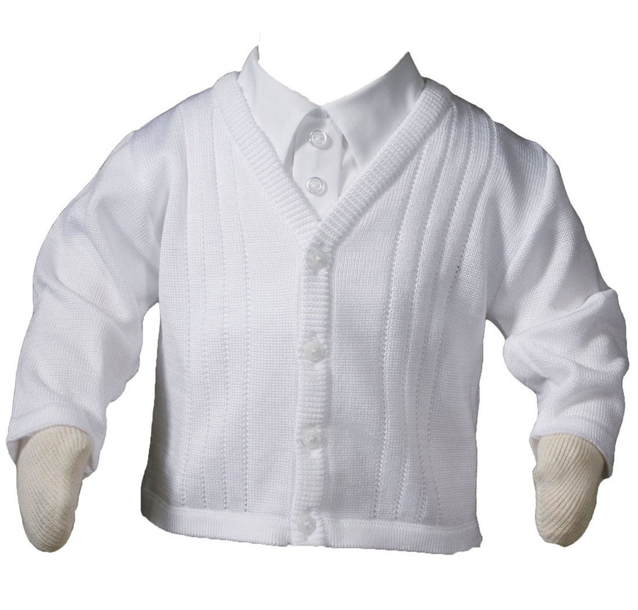 This boys 100% cotton sateen acrylic knit sweater is exquisitely finished to provide a soft, comfortable and stylish fit.