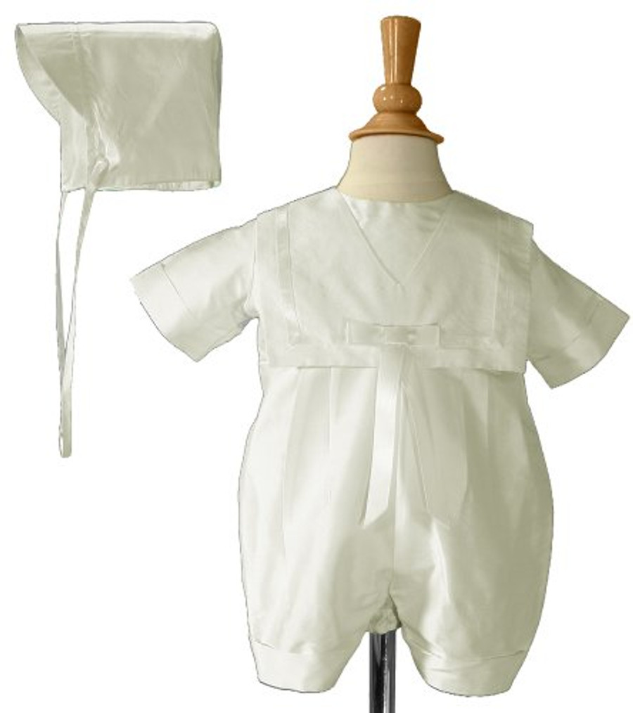 Boys White Silk Christening Baptism Nautical Romper