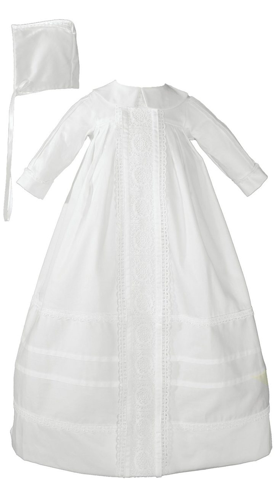 Cotton Sateen Bishop's Christening Baptism Gown and Bonnet