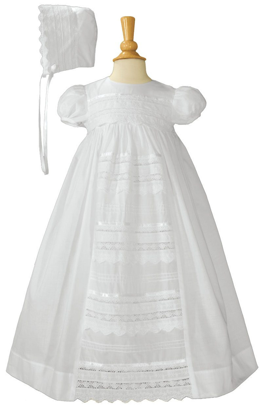 """Girls Cotton Dress Christening Gown Baptism Gown with Venise Lace, Girls 26"""""""