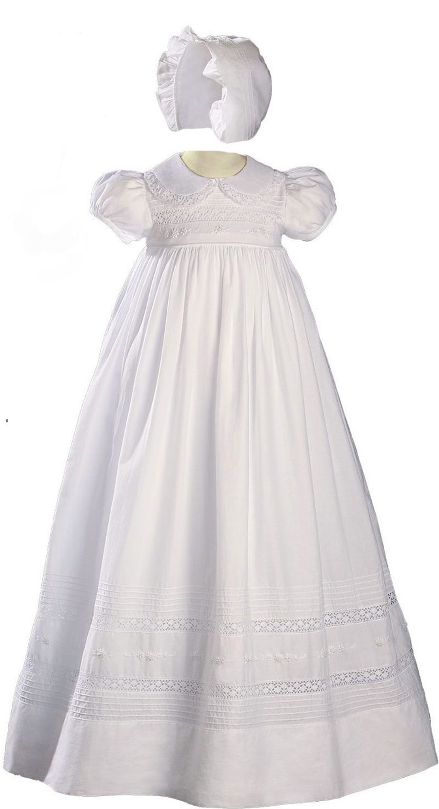 "Girls  White Cotton Short Sleeve Christening Baptism Gown with Hand Embroidery, 33"" Length"