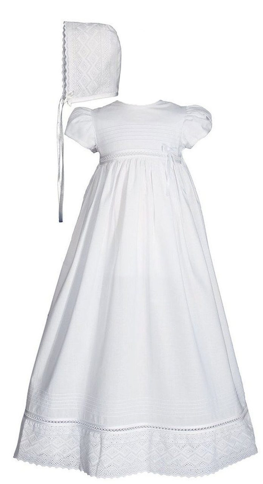 White Christening Baptism Gown Cotton Dress with Lace, Girls 30″