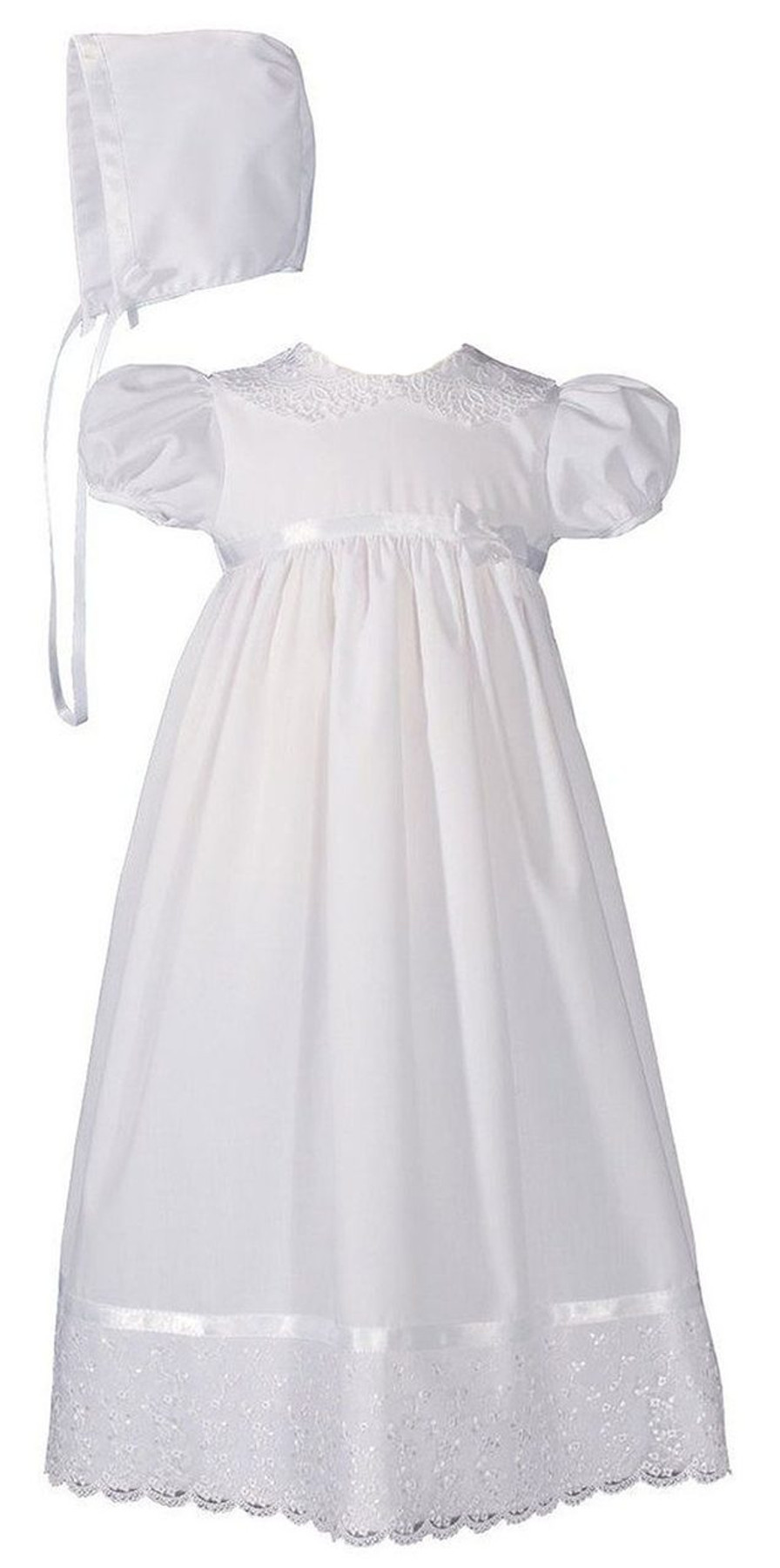 Girls 24″ Poly Cotton Christening Baptism Gown with Lace Collar and Hem