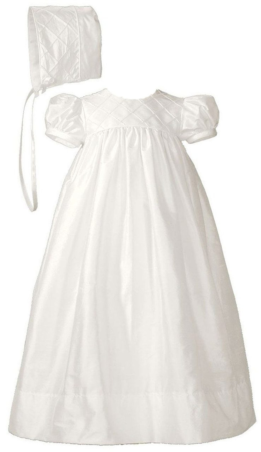 Girls Silk Dupioni Dress Baptism Gown with Lattice Bodice