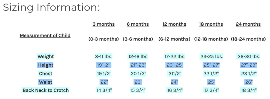 Sizing Chart and Information