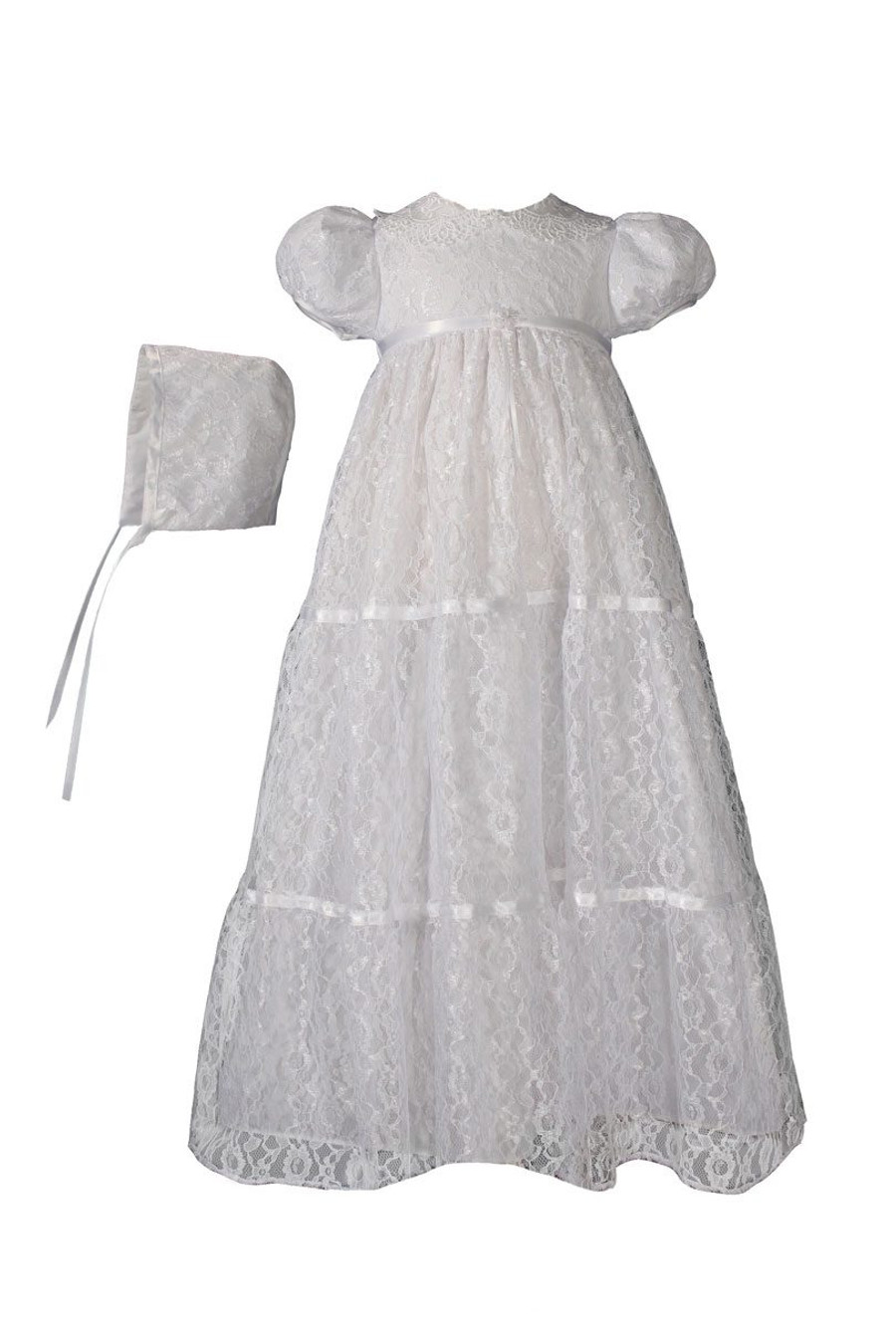 Girls Layered All Over Lace Christening Special Occasion Gown 29 Length