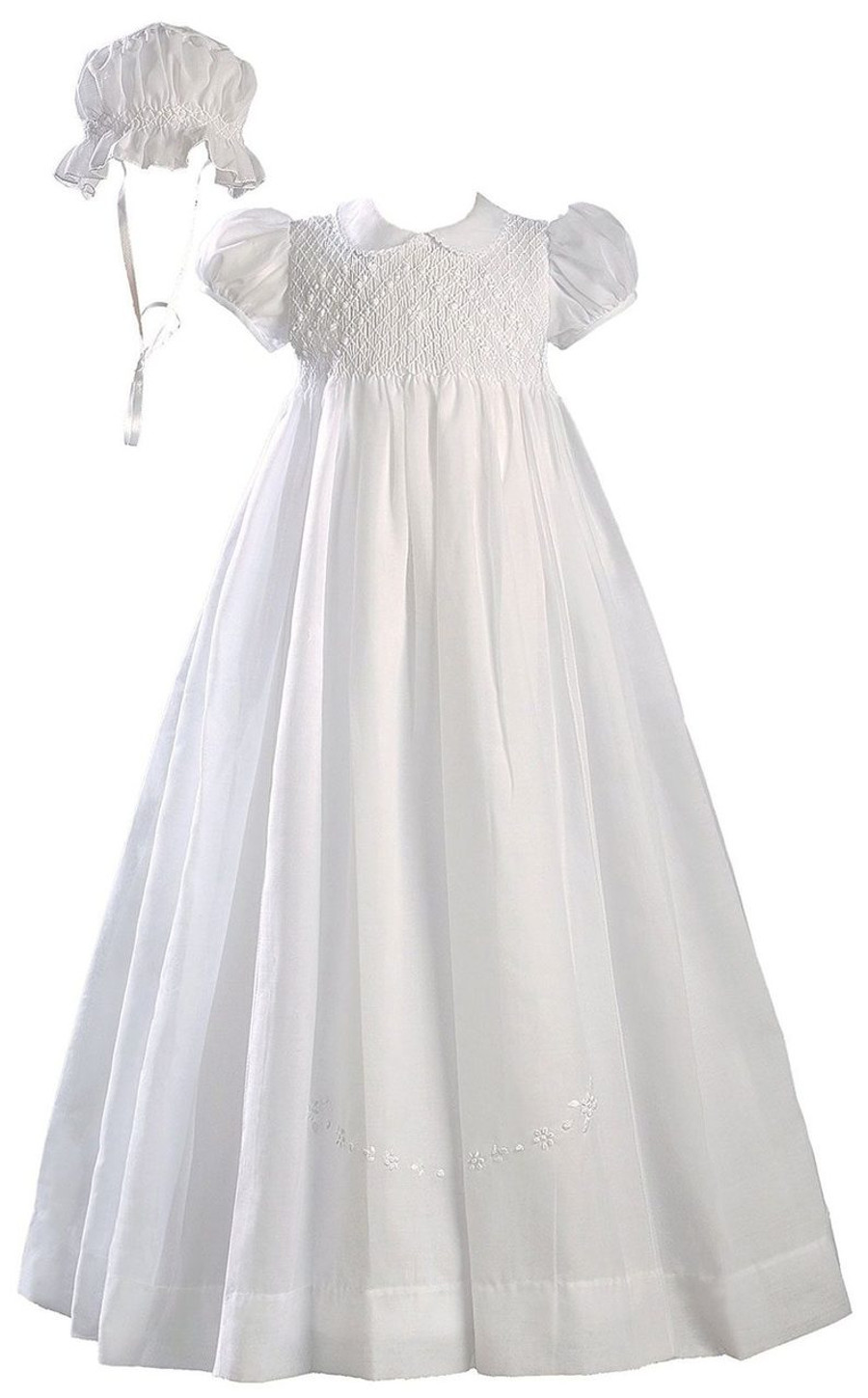 a1c8cd987 Hand Smocked Polycotton Batiste Christening Baptism Gown