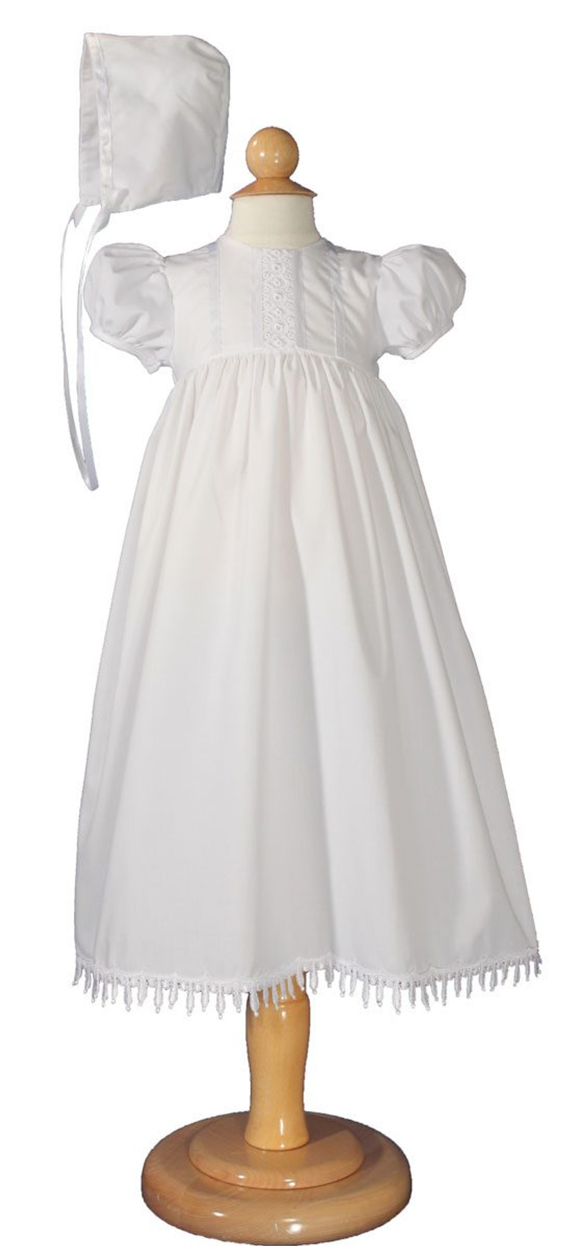 eardrop Lace Christening Baptism Gown with Bonnet, Girls 24″ Poly Cotton