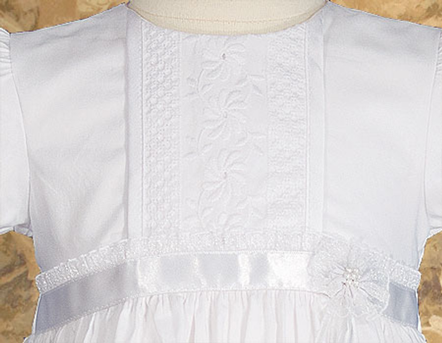 Cotton Christening Gown with Floral Lace Detailing, Girls 23