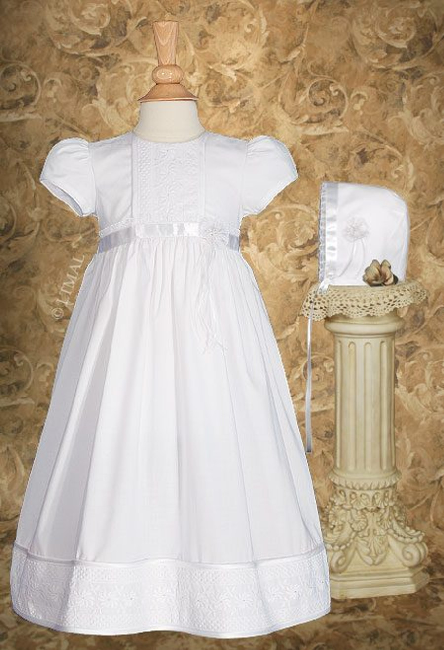 """Cotton Christening Gown with Floral Lace Detailing, Girls 23"""""""
