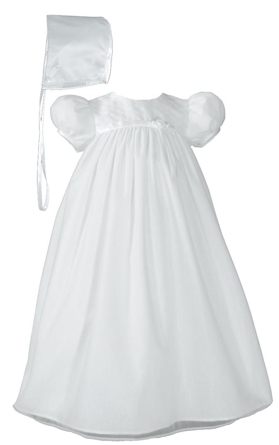 Baby Girls White Embroider Taffeta Christening Dress