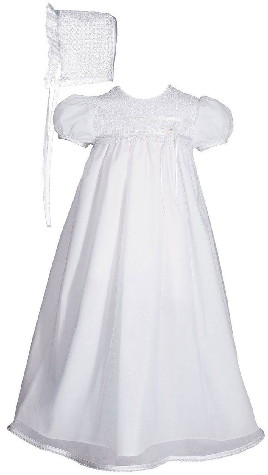 "Tricot Overlay Christening Baptism Gown with Tatted Lace Bonnet, 25"" Length"