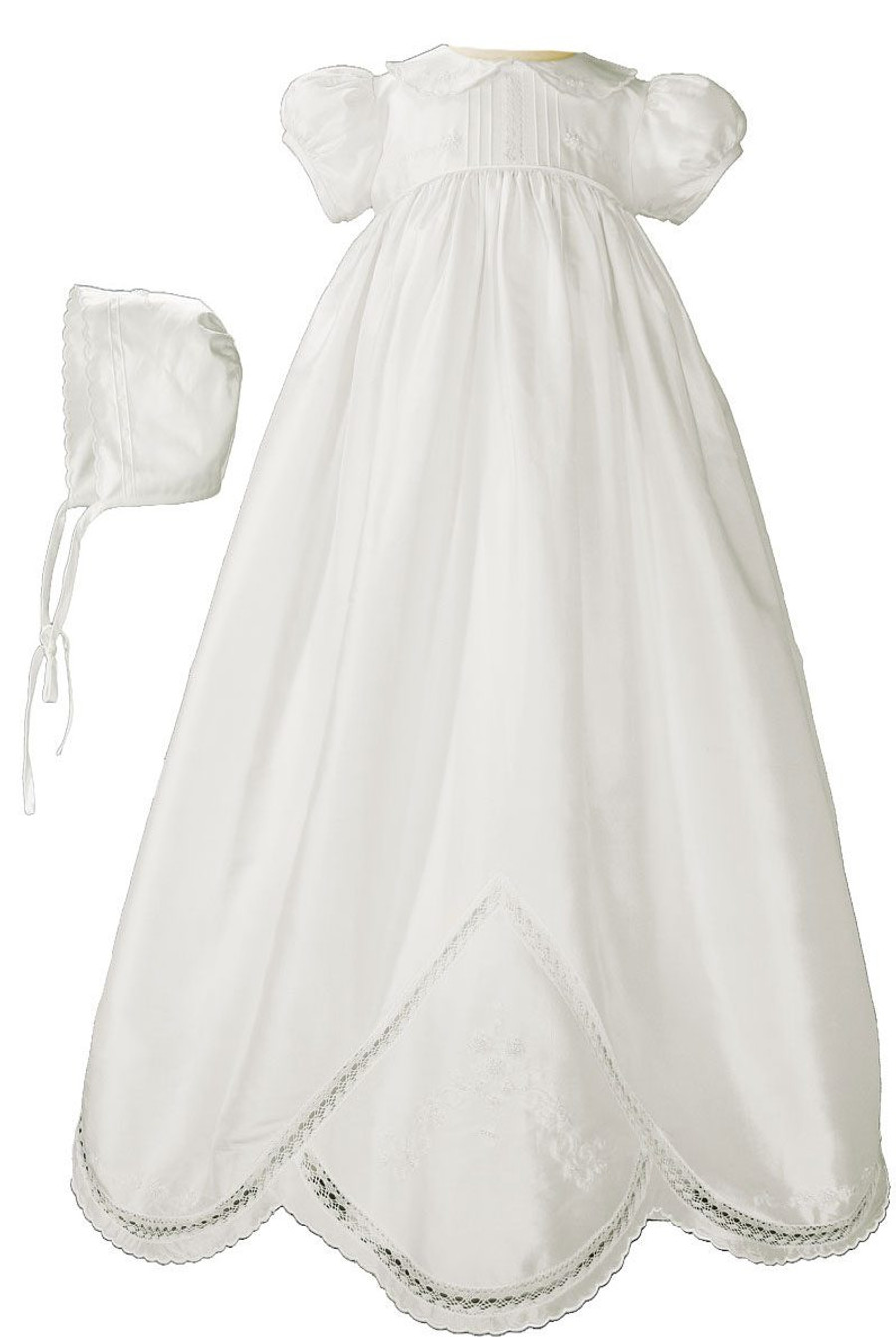 "Girls White Silk Dupioni Christening-Baptism Gown with Hand Embroidery, 33"" Length"
